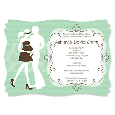 Silhouette Couples Baby Shower - It's A Baby - Baby Shower Invitations With Squiggle Shape Baby Shower Party Supplies