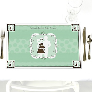 Silhouette Couples Baby Shower - It's A Baby - Personalized Baby Shower Placemats