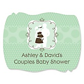 Silhouette Couples Baby Shower - It's A Baby - Personalized Baby Shower Squiggle Stickers - 16 ct
