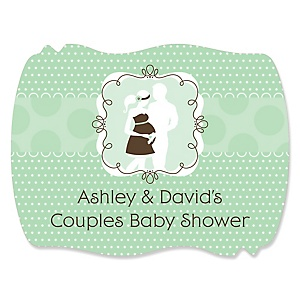 Silhouette Couples Baby Shower - It's A Baby - Personalized Baby Shower Squiggle Sticker Labels - 16 Count