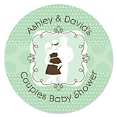Silhouette Couples Baby Shower - It's A Baby - Personalized Baby Shower Round Sticker Labels - 24 Count