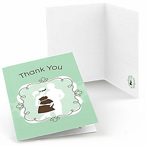 Silhouette Couples Baby Shower - It's A Baby - Baby Shower Thank You Cards - Set of  8