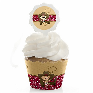 Little Cowboy - Western Cupcake Wrapper & Pick Party Kit - Set of 24