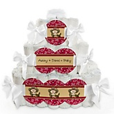 Little Cowboy - Western 3 Tier Personalized Square Baby Shower Diaper Cake
