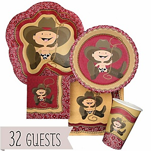 Little Cowboy - Western Baby Shower Tableware Bundle for 32 Guests