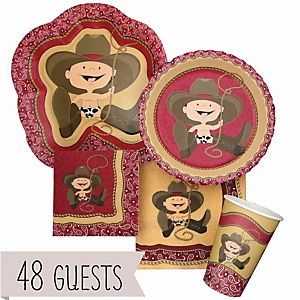Little Cowboy - Western Baby Shower Tableware Bundle for 48 Guests