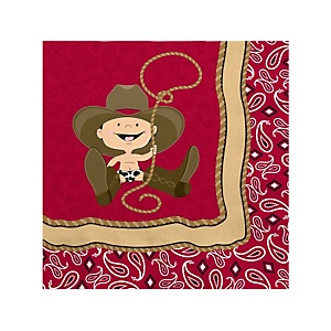 Little Cowboy - Western Baby Shower Beverage Napkins - 16 Pack