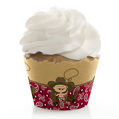 little cowboy western baby shower cupcake wrappers