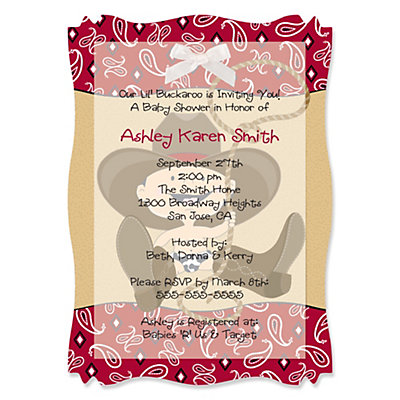 Little Cowboy - High Quality Vellum Overlay Baby Shower Invitations With Squiggle Shape Baby Shower Party Supplies