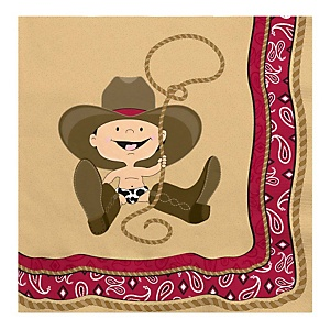 Little Cowboy - Western Baby Shower Luncheon Napkins - 16 Pack