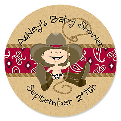 little cowboy western personalized baby shower sticker labels 24