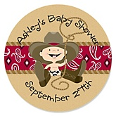 Little Cowboy - Personalized Baby Shower Round Sticker Labels - 24 Count