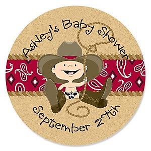 Little Cowboy - Western Personalized Baby Shower Round Sticker Labels - 24 Count