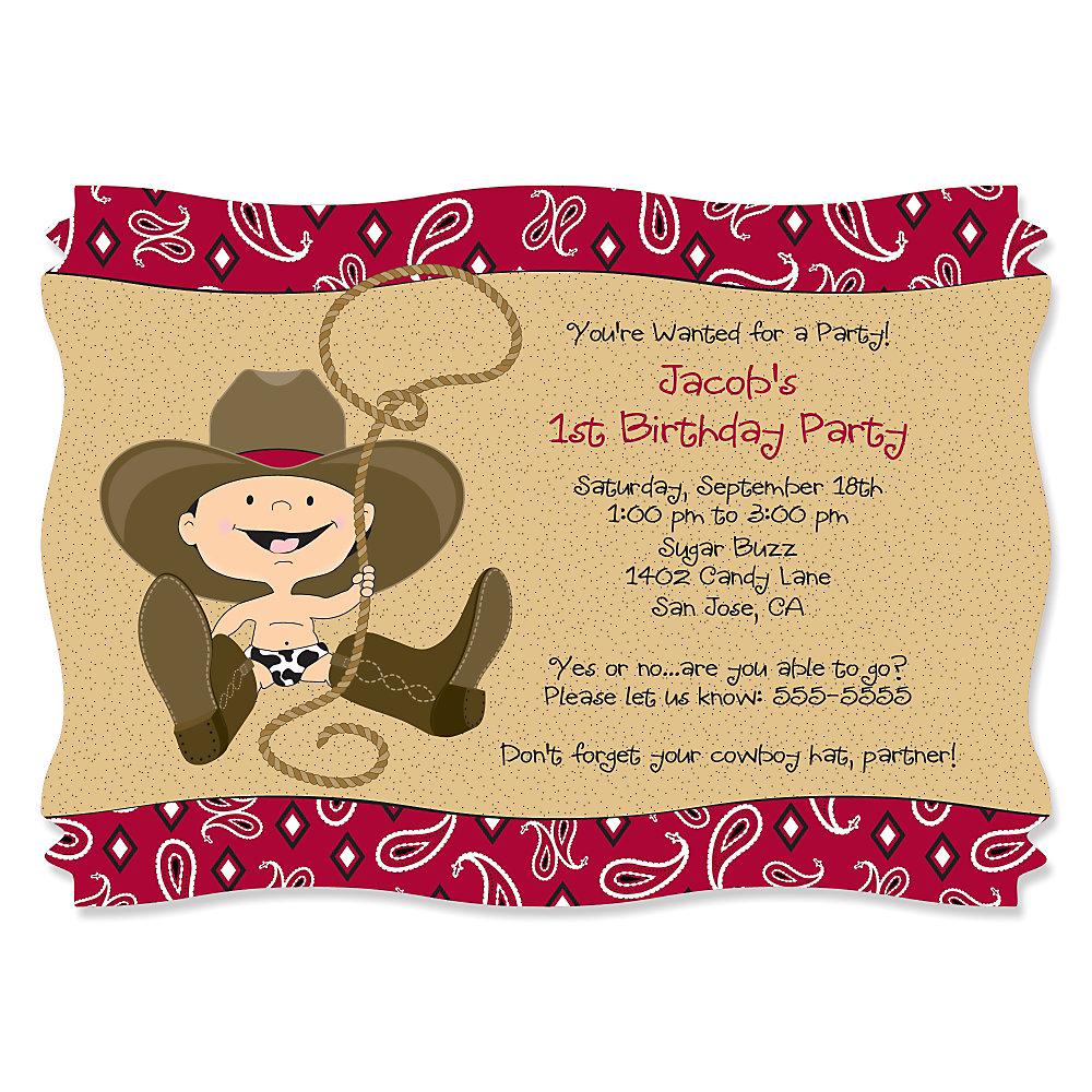 little cowboy  birthday party theme  bigdotofhappiness, Birthday invitations