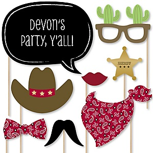 Little Cowboy - Western Baby Shower Photo Booth Props Kit - 20 Props