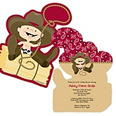 Little Cowboy - Shaped Western Baby Shower Invitations