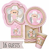 Little Cowgirl - Baby Shower Tableware Bundle for 16 Guests