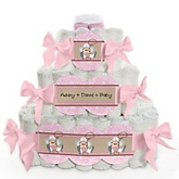 Little Cowgirl - Western 3 Tier Personalized Square Baby Shower Diaper Cake