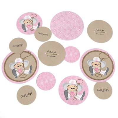 Little Cowgirl   Western Personalized Baby Shower Table Confetti   27 Ct