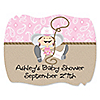 Little Cowgirl - Personalized Baby Shower Squiggle Stickers - 16 ct