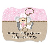 Little Cowgirl - Western Personalized Baby Shower Squiggle Sticker Labels - 16 Count
