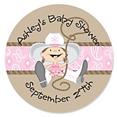 Little Cowgirl - Personalized Baby Shower Round Sticker Labels - 24 Count