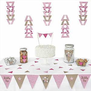 Little Cowgirl - Western Baby Shower Triangle Decoration Kits - 72 Count