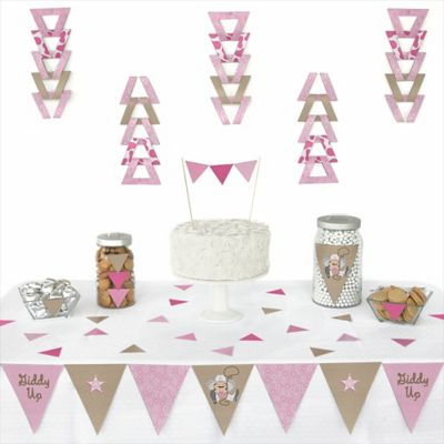 Little Cowgirl   Western 72 Piece Triangle Party Decoration Kit