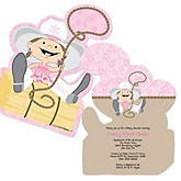 Little Cowgirl - Western Shaped Baby Shower Invitations