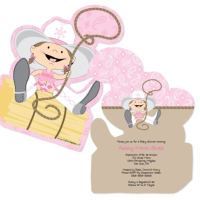 Little Cowgirl   Western Shaped Baby Shower Invitations