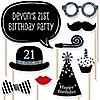 Custom Birthday - Silver - 20 Piece Photo Booth Props Kit