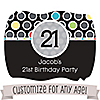 Custom Birthday - Personalized Birthday Party Squiggle Stickers - 16 ct
