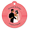 Custom Wedding Couples Coral - Round Personalized Bridal Shower Tags - 20 ct