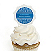 Damask Blue - Personalized Bridal Shower Cupcake Pick and Sticker Kit -  12 ct