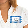 Damask Blue - Personalized Bridal Shower Name Tag Stickers - 8 ct