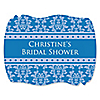 Damask Blue - Personalized Bridal Shower Squiggle Sticker Labels - 16 ct