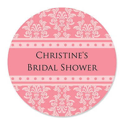 Damask Salmon Pink - Personalized Bridal Shower Sticker Labels - 24 ct
