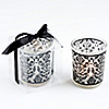 Damask Traditions Frosted Glass Tea Light Holder with Charm - Baptism Favors