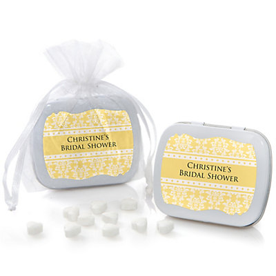 Damask Yellow - Personalized Bridal Shower Mint Tin Favors...