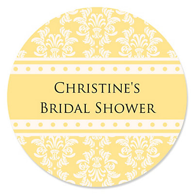 Damask Yellow - Personalized Bridal Shower Sticker Labels - 24 ct