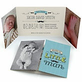 Dashing Little Man Mustache Party - Photo Birth Announcements