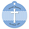 Delicate Blue Cross - Round Personalized Baptism Tags - 20 ct