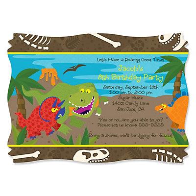 dinosaur birthday  personalized birthday party invitations, Birthday invitations