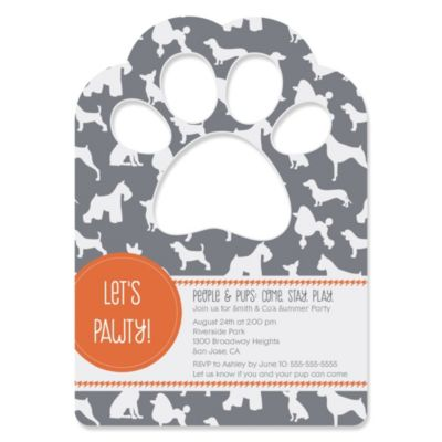 Dog Silhouettes Paw Shaped Personalized Dog Party Invitations