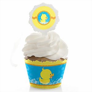 Ducky Duck - Cupcake Wrapper & Pick Party Kit - Set of 24
