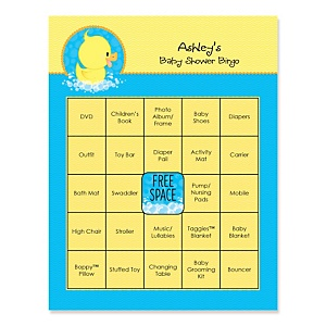Ducky Duck - Bingo Personalized Baby Shower Games - 16 Count