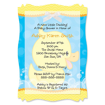 Ducky Duck - High Quality Vellum Overlay Baby Shower Invitations With Squiggle Shape Baby Shower Party Supplies