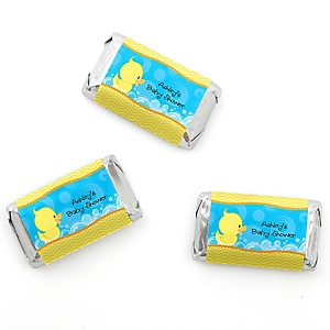 Ducky Duck - Personalized Baby Shower Mini Candy Bar Wrapper Favors - 20 ct