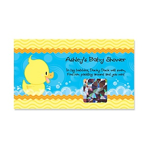 Ducky Duck - Personalized Baby Shower Game Scratch Off Cards - 22 ct