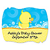 Ducky Duck - Personalized Baby Shower Squiggle Stickers - 16 ct